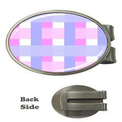 Gingham Checkered Texture Pattern Money Clips (Oval)