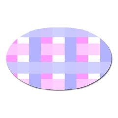 Gingham Checkered Texture Pattern Oval Magnet