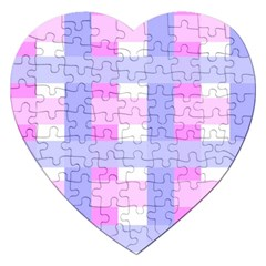 Gingham Checkered Texture Pattern Jigsaw Puzzle (Heart)