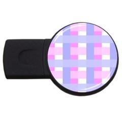 Gingham Checkered Texture Pattern USB Flash Drive Round (4 GB)