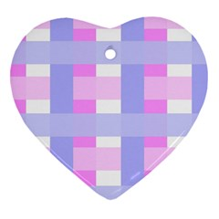 Gingham Checkered Texture Pattern Heart Ornament (Two Sides)