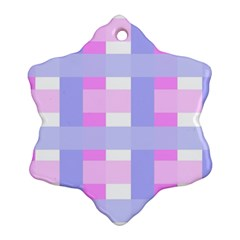 Gingham Checkered Texture Pattern Snowflake Ornament (Two Sides)