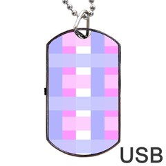 Gingham Checkered Texture Pattern Dog Tag Usb Flash (two Sides)