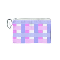 Gingham Checkered Texture Pattern Canvas Cosmetic Bag (S)