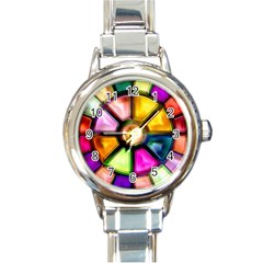 Glass Colorful Stained Glass Round Italian Charm Watch