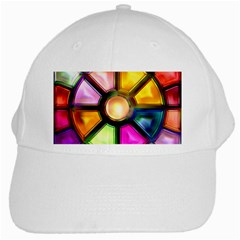 Glass Colorful Stained Glass White Cap