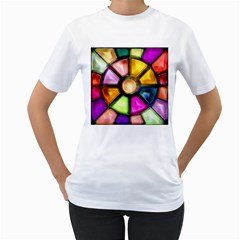 Glass Colorful Stained Glass Women s T-Shirt (White) (Two Sided)