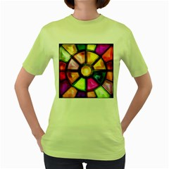 Glass Colorful Stained Glass Women s Green T-Shirt