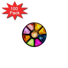 Glass Colorful Stained Glass 1  Mini Buttons (100 pack)