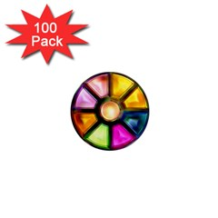 Glass Colorful Stained Glass 1  Mini Magnets (100 pack)