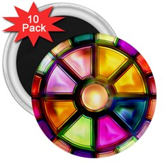 Glass Colorful Stained Glass 3  Magnets (10 pack)
