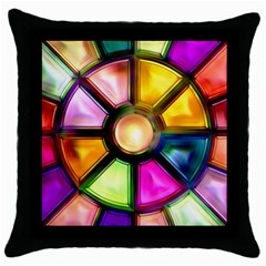 Glass Colorful Stained Glass Throw Pillow Case (Black)