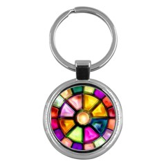 Glass Colorful Stained Glass Key Chains (Round)
