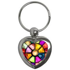 Glass Colorful Stained Glass Key Chains (Heart)
