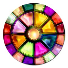 Glass Colorful Stained Glass Magnet 5  (Round)