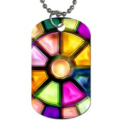 Glass Colorful Stained Glass Dog Tag (One Side)