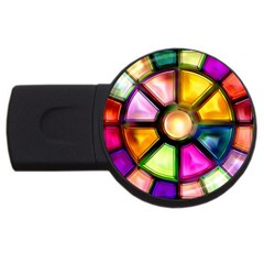 Glass Colorful Stained Glass USB Flash Drive Round (1 GB)