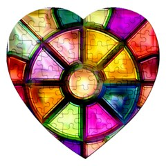 Glass Colorful Stained Glass Jigsaw Puzzle (Heart)