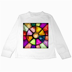 Glass Colorful Stained Glass Kids Long Sleeve T-Shirts