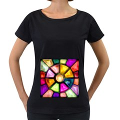 Glass Colorful Stained Glass Women s Loose-Fit T-Shirt (Black)
