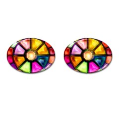 Glass Colorful Stained Glass Cufflinks (Oval)