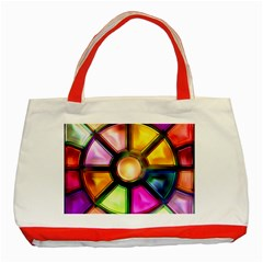 Glass Colorful Stained Glass Classic Tote Bag (Red)