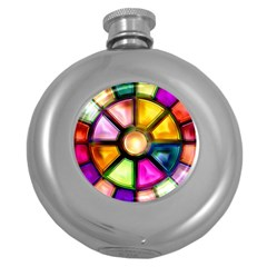 Glass Colorful Stained Glass Round Hip Flask (5 oz)