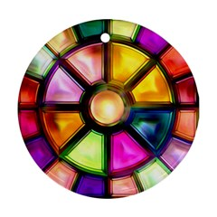 Glass Colorful Stained Glass Round Ornament (Two Sides)