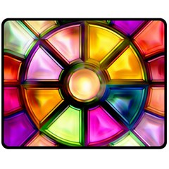 Glass Colorful Stained Glass Fleece Blanket (Medium)
