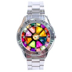 Glass Colorful Stained Glass Stainless Steel Analogue Watch