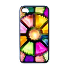 Glass Colorful Stained Glass Apple iPhone 4 Case (Black)