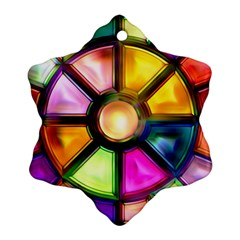 Glass Colorful Stained Glass Snowflake Ornament (Two Sides)
