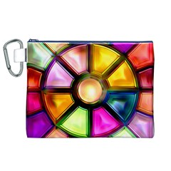 Glass Colorful Stained Glass Canvas Cosmetic Bag (XL)