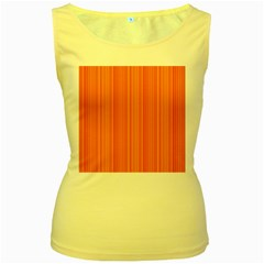 Orange pattern Women s Yellow Tank Top
