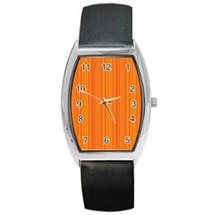 Orange pattern Barrel Style Metal Watch