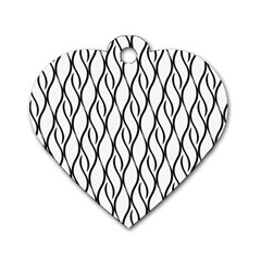 Black and white elegant pattern Dog Tag Heart (Two Sides)