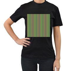 Green lines Women s T-Shirt (Black) (Two Sided)