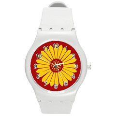 Flag Of Myanmar Army Eastern Command Round Plastic Sport Watch (m)