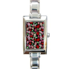 Red and pink roses Rectangle Italian Charm Watch