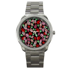 Red and pink roses Sport Metal Watch