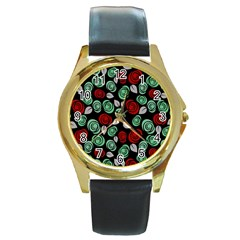 Decorative floral pattern Round Gold Metal Watch