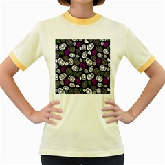 Purple roses pattern Women s Fitted Ringer T-Shirts