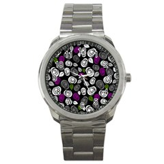 Purple roses pattern Sport Metal Watch