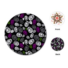 Purple roses pattern Playing Cards (Round)