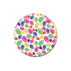 Colorful roses Magnet 3  (Round)