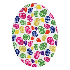 Colorful roses Oval Ornament (Two Sides)