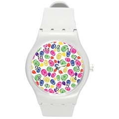 Colorful Roses Round Plastic Sport Watch (m)
