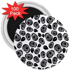 Black roses pattern 3  Magnets (100 pack)