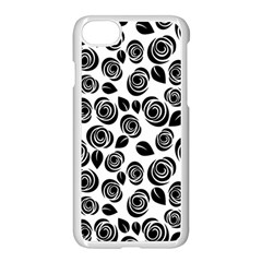 Black Roses Pattern Apple Iphone 7 Seamless Case (white)