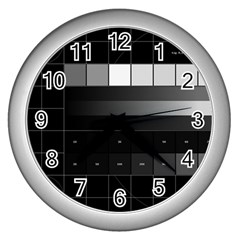 Grayscale Test Pattern Wall Clocks (Silver)